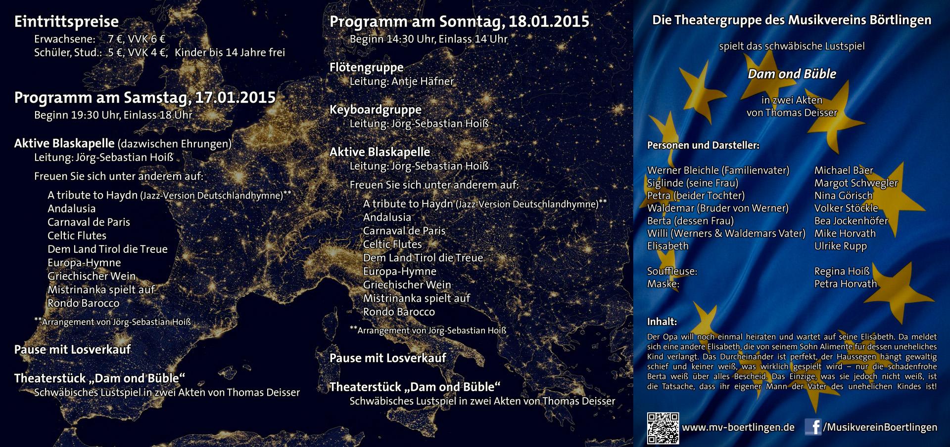Programm der Jahresfeier 'Europa' am 17. und 18. Januar 2015
