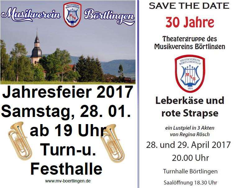Jahresfeier am 28.01. und Theater-Jubiläum 28.-29.04.2017